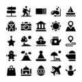Holidays and Vacations Solid Icons Set