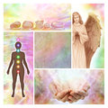 Holistic collage with blank middle panel four different image including an angel chakra diagram healing hands healing crystals and Stock Photos