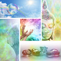 Holistic healing collage five different pictures showing aspects of therapy and lifestyle including crystals angels buddha rainbow Stock Photos