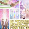 Holistic healing therapy collage five images showing different aspects of including hands divination meditation angel chakras and Royalty Free Stock Photography