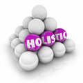 Holistic pyramid balls total whole approach balance word on in a to illustrate or symbolize a or complete to mind body and soul Royalty Free Stock Image
