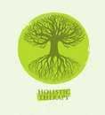 Holistic Therapy Tree With Roots On Organic Paper Background. Natural Eco Friendly Medicine Vector Concept Royalty Free Stock Photo