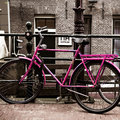 Holland bicycles beautiful view of in center of amsterdam Royalty Free Stock Photos