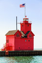 Holland Big Red Lighthouse Royalty Free Stock Photo