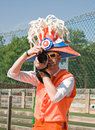 Holland football fan with camera Royalty Free Stock Image