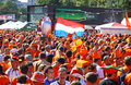 Holland football fans walk on a street of Kharkiv Stock Image