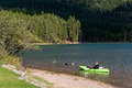 Holland lake montana usa september scenic view of lake h in on unidentified person Royalty Free Stock Images