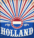 Holland vintage old poster with Netherlands flag colors