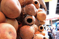 Hollow gourds hanging in a market hollowed out hang for sale an african Stock Photo