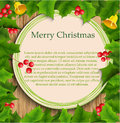 Holly berry and bells �hristmas frame with Royalty Free Stock Photo