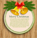 Holly berry and bells �hristmas frame with christmas tree Royalty Free Stock Photos