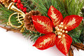 Holly berry flower and christmas decoration on white background Royalty Free Stock Images