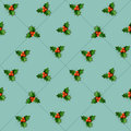 Holly berry with leaves christmas seamless pattern vector illustration eps transparent objects and opacity masks used for shadows Stock Photos