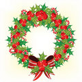 Holly berry wreath Stock Photos