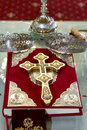 Holly bible religious objects holy crucifix and crown ready for wedding Royalty Free Stock Photography