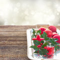 Holly  green leaves and red berries Royalty Free Stock Photo
