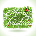 Holly leaves and merry christmas calligraphic text detailed illustration of a rectangle this illustration is saved in eps with Royalty Free Stock Images