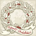 Holly leaves wreath with wishes vintage colors chr beautiful on light background monochrome christmas new year winter holidays Stock Images