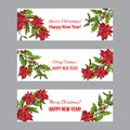 Holly, poinsettia and mistletoe. Christmas and New Year banners Royalty Free Stock Photo