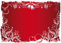 Holly snow and bells red christmas background Royalty Free Stock Images