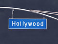 Hollywood blvd overhead street sign with dark storm sky Stock Photo