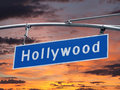 Hollywood blvd sign with sunset street orange sky Stock Images