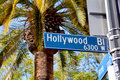 Hollywood boulevard street sign ca usa in the walk of fame was created as a tribute to artists working in the Stock Photography