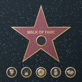 Hollywood fame star. Art and famous actor gold star symbol with five award movie categories icons. Celebrity boulevard