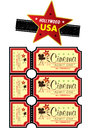 Hollywood usa icon film strip and cinema ticket set Royalty Free Stock Image
