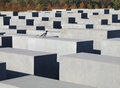 Holocaust memorial in berlin abstract of the germany with lots of concrete blocks and one bird Royalty Free Stock Image
