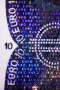 Hologram on an euro bill micro photo of a Royalty Free Stock Photo