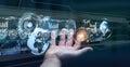 Hologram screen with digital datas used by businessman 3D render