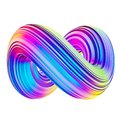 Holographic abstract mobius twisted shape design element Royalty Free Stock Photo