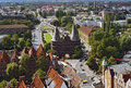 Holsten gate in the hanseatic city of luebeck aerial view taken germany Stock Photo