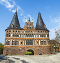 The holsten gate holstentor in lübeck holstein tor later is a city marking off western boundary of old center of hanseatic Stock Images