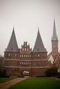 The holstentor city gate in lubeck is a late brick gothic Royalty Free Stock Photography