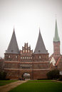 The holstentor city gate in lubeck is a late brick gothic Royalty Free Stock Photos