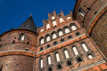 Holstentor luebeck detail from underneath Stock Photos