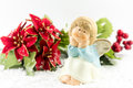 Holy baby angel with poinsettia christmas symbol Royalty Free Stock Image