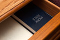 Holy Bible book in drawer Royalty Free Stock Photo