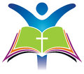 Holy bible cross logo a icon with a person raising their hands Stock Images