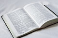 Holy bible open on textured white background Stock Images