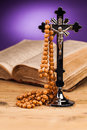 Holy book  rosary and crucifix Royalty Free Stock Photo