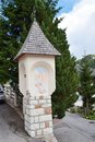 Holy capital an isolated with decorations on the streets of cadore village in belluno province in italy Royalty Free Stock Image