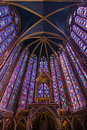 Holy chapel paris beautiful interior of the sainte chapelle a royal medieval gothic in france on april Stock Photos