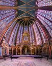 Holy chapel wide angle beautiful stained glass of the sainte chapelle a royal medieval gothic in paris france on april Royalty Free Stock Photo