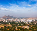 Holy city pushkar rajasthan india aerial view from savitri temple Royalty Free Stock Photography
