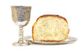 Holy communion bread and cup with wine Royalty Free Stock Photos