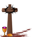 Holy communion bread wine chalice and cross Stock Photo