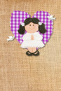 Holy Communion Card rustic,brunette girl Stock Photography